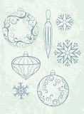 Christmas design elements. Abstract christmas design elements on grunge background royalty free illustration