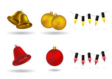 Christmas Design Elements - bells, balls, lights Royalty Free Stock Images