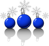 Christmas design elements with blue balls Royalty Free Stock Images
