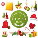 Christmas design elements. Bright Christmas design elements set Royalty Free Stock Photos