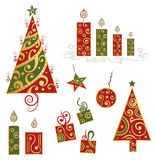 Christmas design elements. Colorful christmas design elements, red, green and gold royalty free illustration