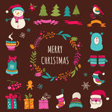 Christmas Design Elements - Doodle Xmas symbols, icons Royalty Free Stock Photos