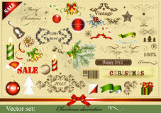 Christmas Design Elements In Vintage Style Stock Photography