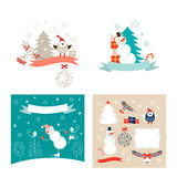 Christmas design elements and New Year greeting cards Stock Photography