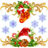 Christmas design elements set 4. Stocking, Santa hat and candy cane Royalty Free Stock Image