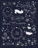 Christmas design elements set on blackboard. EPS Stock Image