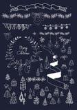 Christmas design elements set on blackboard. EPS Stock Photos