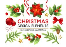 Christmas design elements set royalty free illustration