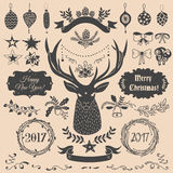 Christmas design elements set. Vector Christmas and New Year set of badges, ribbons, ornaments, icons, frames, labels and design elements for greeting cards Royalty Free Stock Image