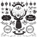 Christmas design elements set. Vector Christmas and New Year set of badges, ribbons, ornaments, icons, frames, labels and design elements for greeting cards royalty free illustration