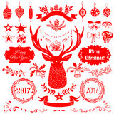 Christmas design elements set. Vector Christmas and New Year set of badges, ribbons, ornaments, icons, frames, labels and design elements for greeting cards Royalty Free Stock Photos