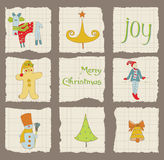 Christmas Design Elements on torn Paper Stock Images