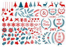Christmas design elements, vector set. Big Christmas set with flowers, laurel wreath, snowflakes and antlers, vector design elements Stock Photos