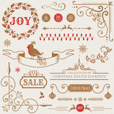 Christmas design elements. Vector set. Set of Christmas and New Year decorations isolated on white background. Collection of vector elements for greeting card Stock Photo