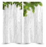 Christmas design with fir tree on wooden background. Web banner template. Vector Illustration Stock Images