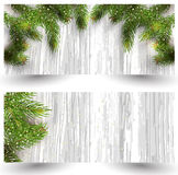 Christmas design with fir tree on wooden background. Web banner template. Royalty Free Stock Image
