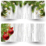 Christmas design with fir tree on wooden background. Web banner template. Stock Image