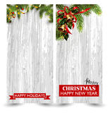 Christmas design with fir tree on wooden background. Web banner template. Stock Photo