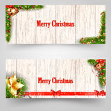 Christmas design with fir tree on wooden background. Web banner template. Vector Illustration. Royalty Free Stock Images
