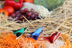Christmas design of food vegetables and fruits. Stock Image