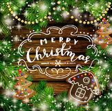 Christmas design with gingerbread cookies royalty free illustration