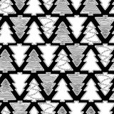 Graphic gingerbread pattern. Christmas design with gingerbreads of fir tree shapes. Vector seamless pattern. Coloring book page design for adults and kids Royalty Free Stock Image