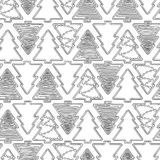 Graphic gingerbread pattern. Christmas design with gingerbreads of fir tree shapes. Vector seamless pattern. Coloring book page design for adults and kids Royalty Free Stock Photos
