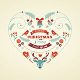 Christmas design heart with birds and deer Royalty Free Stock Photos