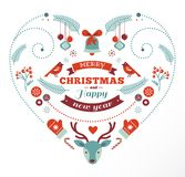 Christmas design heart with birds and deer Royalty Free Stock Photography