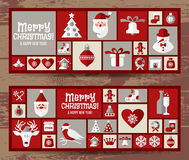 Christmas design icons set. happy new year card.. Royalty Free Stock Photo