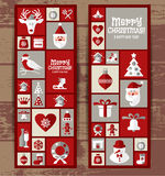 Christmas design icons set. happy new year card.. Stock Photos