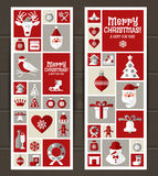Christmas design icons set. happy new year card.. Stock Images