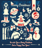 Christmas design icons set. happy new year card.. Stock Photography