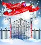 Welcome to Santa`s house. New Year`s landscape. Royalty Free Stock Photos