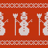 Christmas Design jersey texture with snowmen Stock Photo