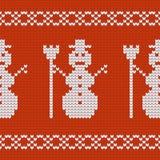 Christmas Design jersey texture with snowmen Stock Photo