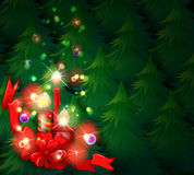 A christmas design with lighted candles Stock Photos