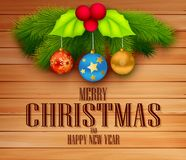 Christmas design with message on wooden background Stock Images