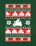 Christmas design of a motorcycle. Funny t-shirt design with rider and Santa`s sleigh stock illustration