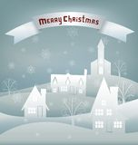 Christmas design night village banner lettering Royalty Free Stock Images