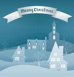 Christmas design night village banner lettering Stock Photography