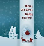 Christmas design night village banner lettering Royalty Free Stock Image