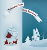 Christmas design night village banner lettering Stock Photos