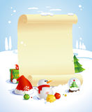 Christmas design with paper roll. Royalty Free Stock Photography