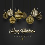 Christmas design. Patterned golden baubles on a black background. Royalty Free Stock Photography