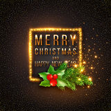 Christmas design, realistic gold frame with glowing lights Stock Images