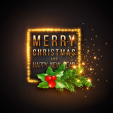 Christmas design, realistic gold frame with glowing lights Royalty Free Stock Photography