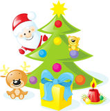 Christmas design with santa claus, xmas tree Stock Image