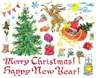 Christmas design set with decorated conifer, Santa, lettering, holiday objects royalty free illustration