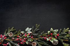 Christmas design space wallpaper on black background stock images